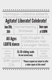 Dance poster for our all ages, sober, dance party falling on the anniversary of the Stonewall rebellion